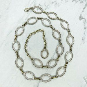 Silver and Gold Tone Open Oval Concho Chain Belt